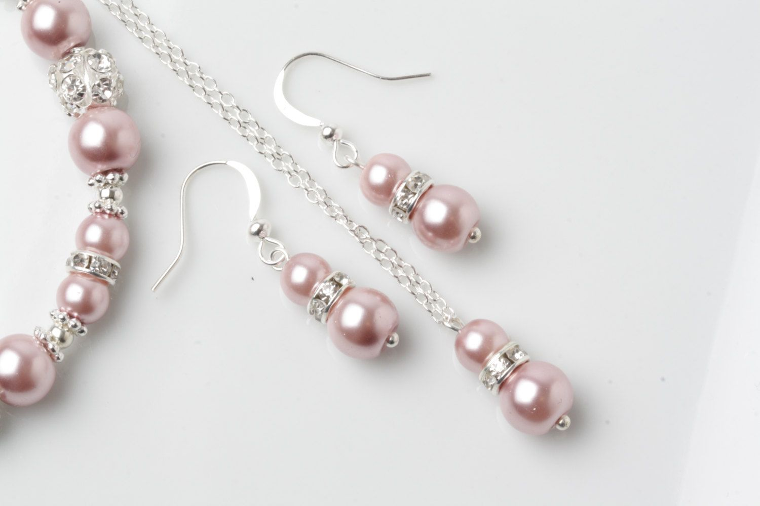 Dusty rose Bridesmaid jewelry set, dusty pink earrings and