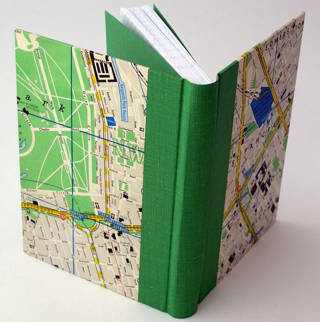 Journal, handbound. Covered in a 1950's map of London, and some old green bookcloth.