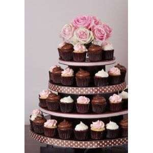 Dress My Cupcake Laila Large 5-Tier Round Cardboard Cupcake Tower, Holds 100 Cupcakes! - Stands, Displays, Trees for Cakes & Desserts