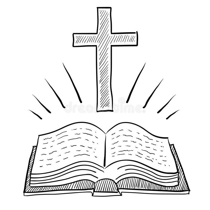 Christian Bible And Cross Drawing Stock Image Cross Drawing Bible Drawing Christian Drawings