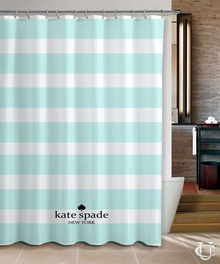 Kate Spade Pale Mint Stripes Cool Shower Curtain