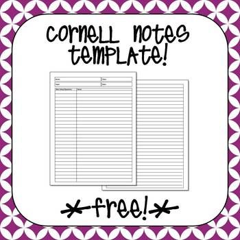 Free Cornell Notes Template  Flippables And Interactive Notebooks