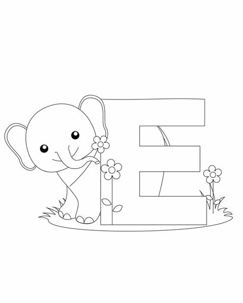 Letter E Coloring Page Abc Coloring Pages Elephant Coloring