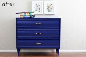 Image Source:Design Sponge  I MUST find a piece of SOMETHING and paint it thus!!!  I think I would switch out the small pulls for something longer.