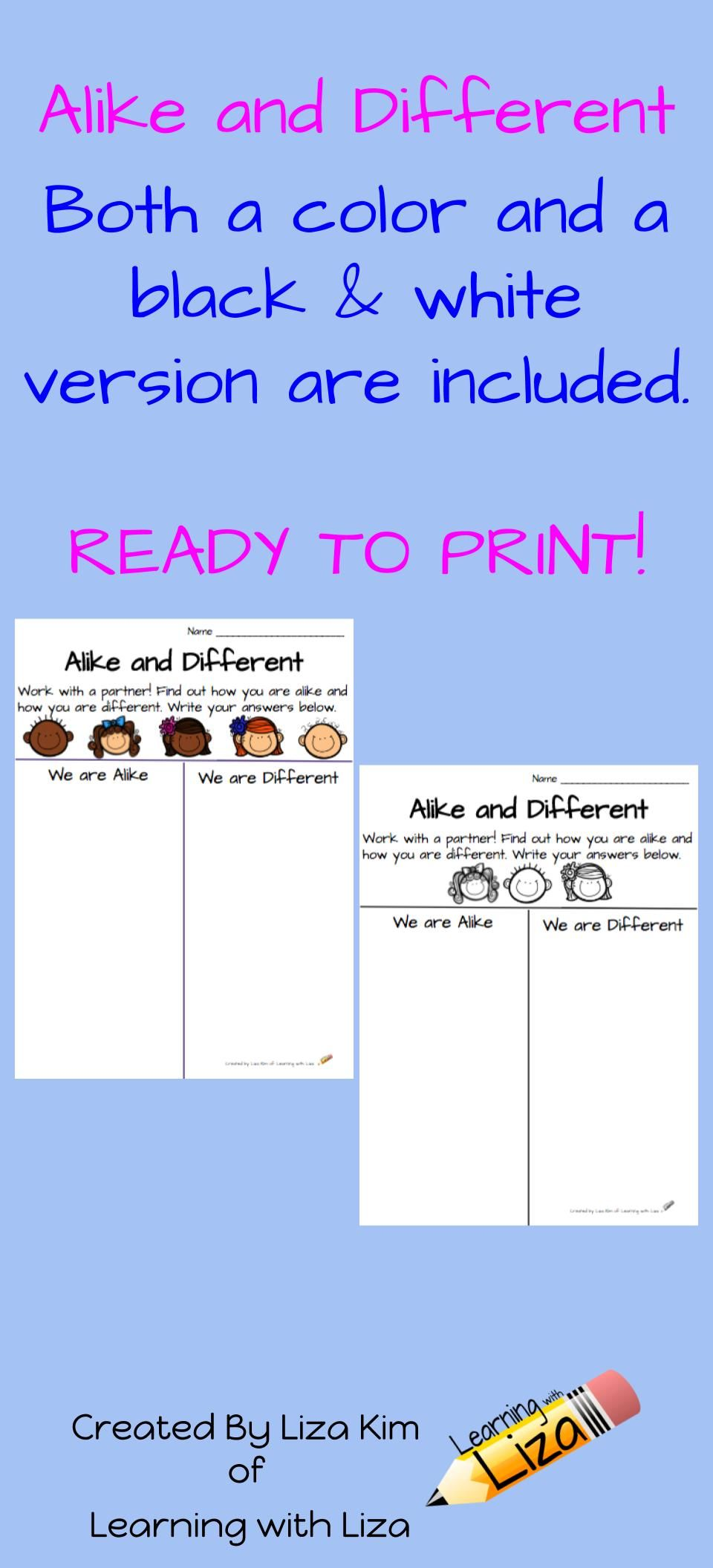 What A Fun Writing Activity For Your Students To Explore Alike And Different This Activity Is A Great Fun Writing Activities Kids Math Worksheets Cool Writing [ 2112 x 960 Pixel ]