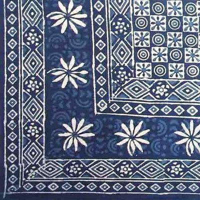 Handmade 100/% Cotton Dabu Indian Tapestry Tablecloth Spread Twin Indigo Blues C