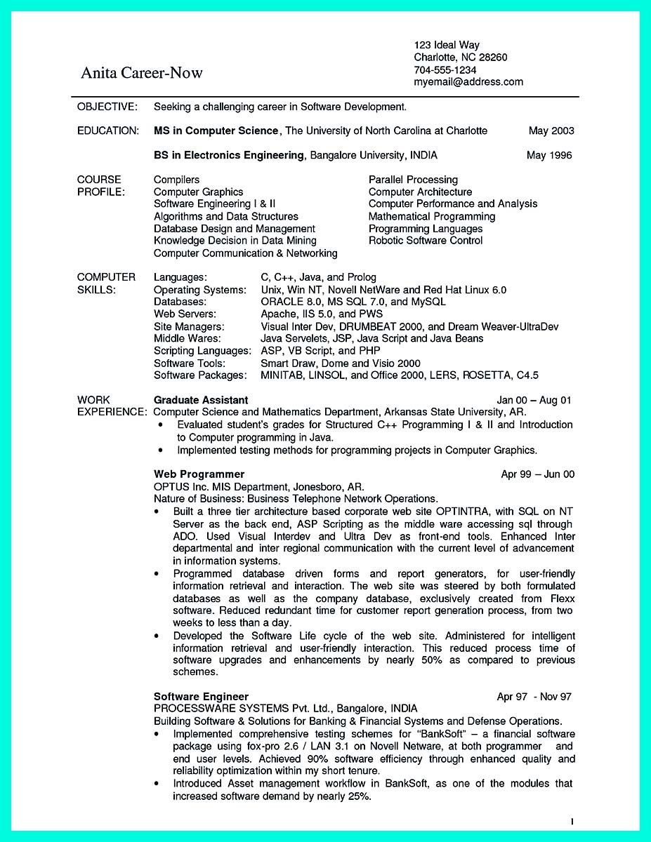 awesome The Best Computer Science Resume Sample Collection, Check ...