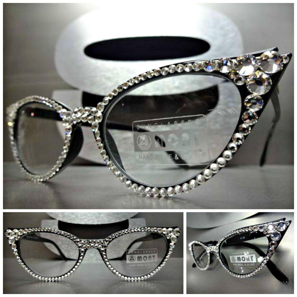 5d3888b7d8 Women s VINTAGE CAT EYE READING EYE GLASSES READERS Swarovski Crystal  Handmade  MONTEyewear  Vintage60sCatEye