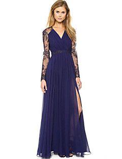 274b158cbd3c9 EILA Women's Vintage/Sexy/Bodycon/Lace/Party/Work V-Neck Long Sleeve ...