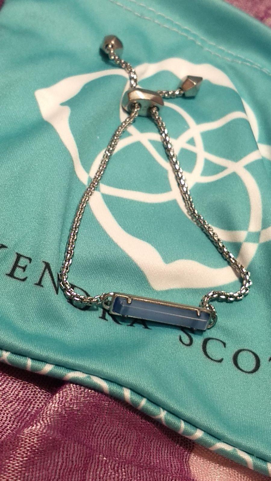 Kendra Scott Stan Silver Adjustable Chain Bracelet in Iridescent Drusy