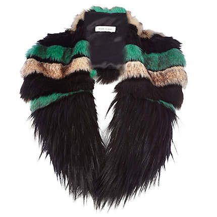 Black colour block faux fur tippet £25.00