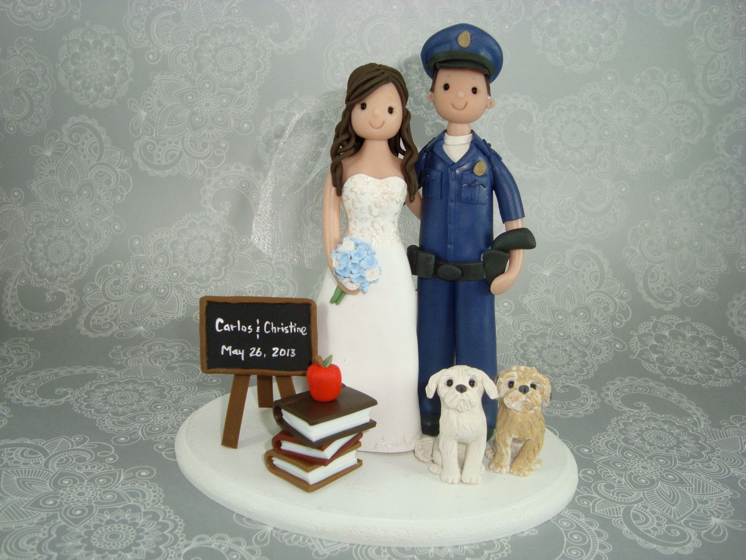 LOVE IT!! Police Officer & Teacher Personalized Wedding Cake Topper ...