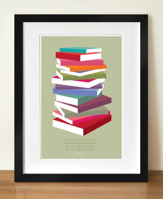 Dr Seuss Poster Print coloridos libros pila 8 por visualphilosophy ...
