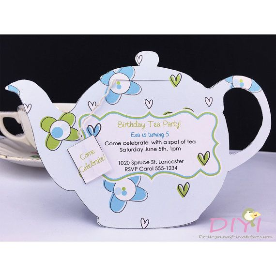 Printable Tea Party Invitation- Bridal Tea Party Invitation- Tea Pot - birthday invitation homemade