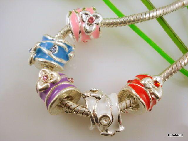 5pcs Snake Chain Silver //P Charm Bracelets Fits European Beads Choose Sizes P01
