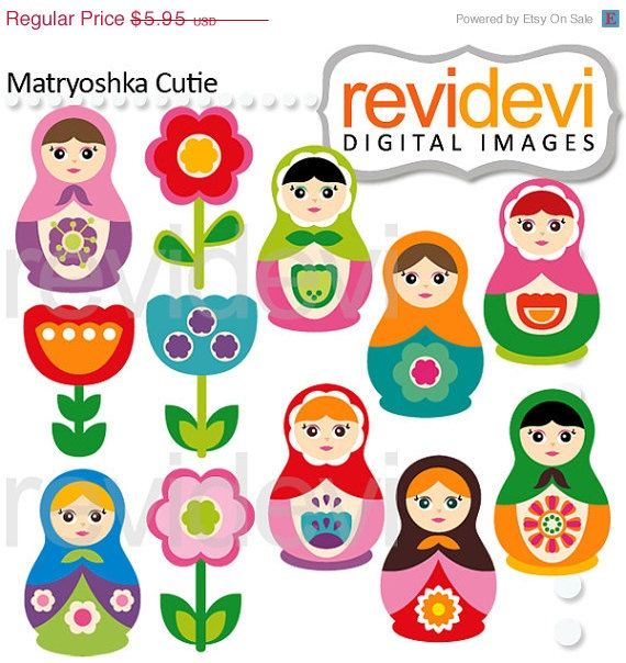 80% OFF SALE Cliparts Matryoshka Cutie 07534.. Instant by revidevi