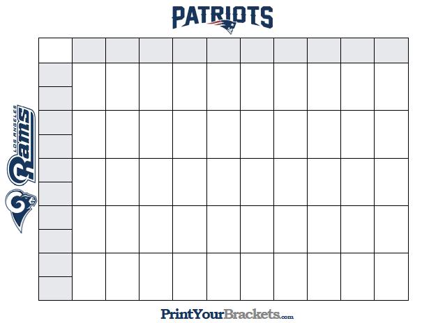 Printable 50 Square Super Bowl Grid Superbowl Squares Super Bowl Pool Super Bowl Football