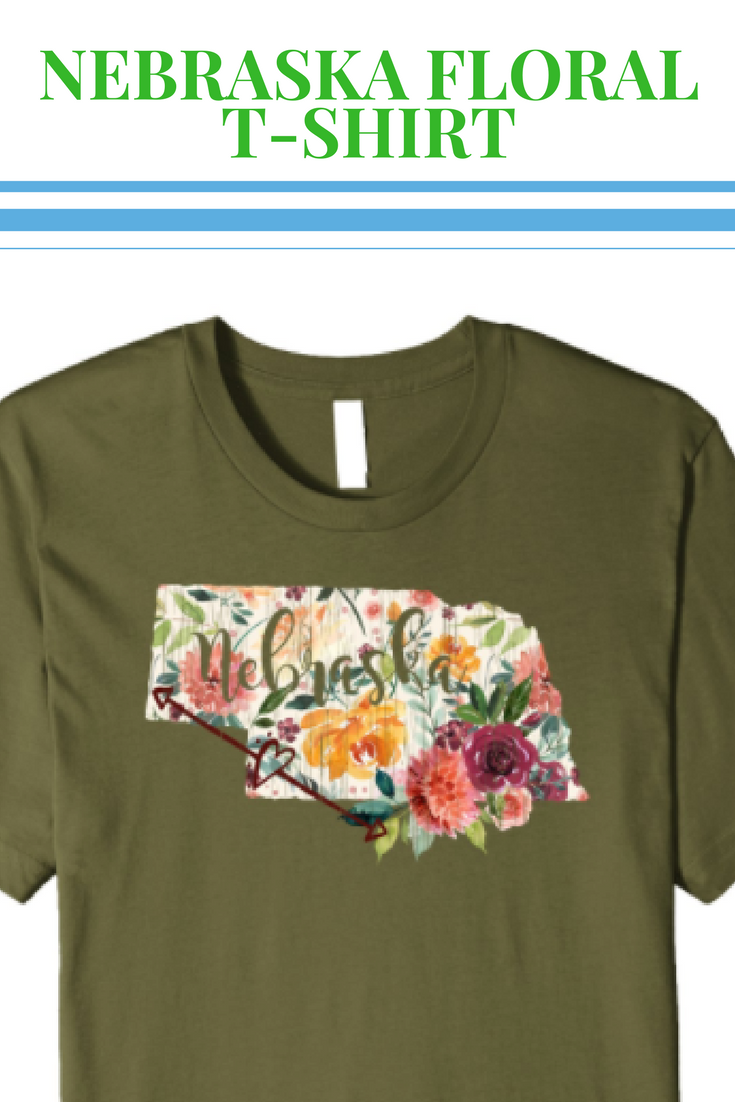 400c82c24 Nebraska State Floral Watercolor Overlay Distressed T-Shirt   Artist tee  shirt for women and