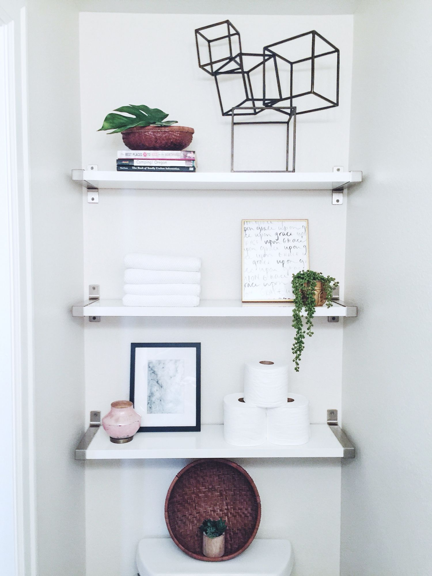Modern Over The Toilet White Bathroom Ikea Shelves Simple Decor