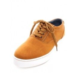 Twist On Classic Tan Faux Leather Lace Up Sneakers