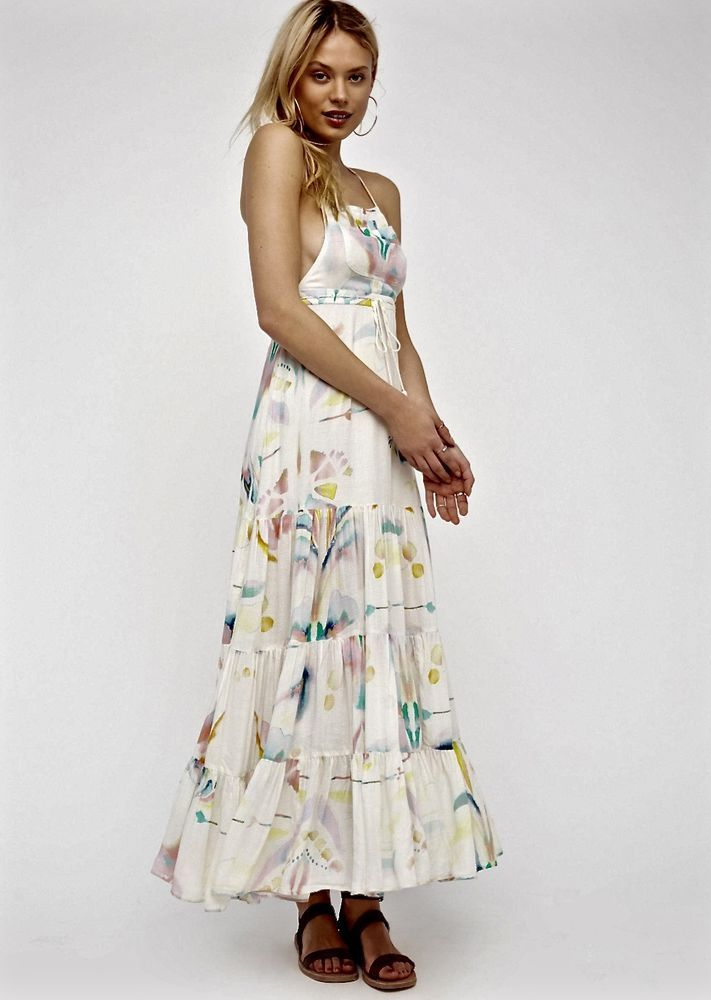 NWT Free People ivory Watercolor Maxi Swing Dress Jumper Ruffled - free p&l template