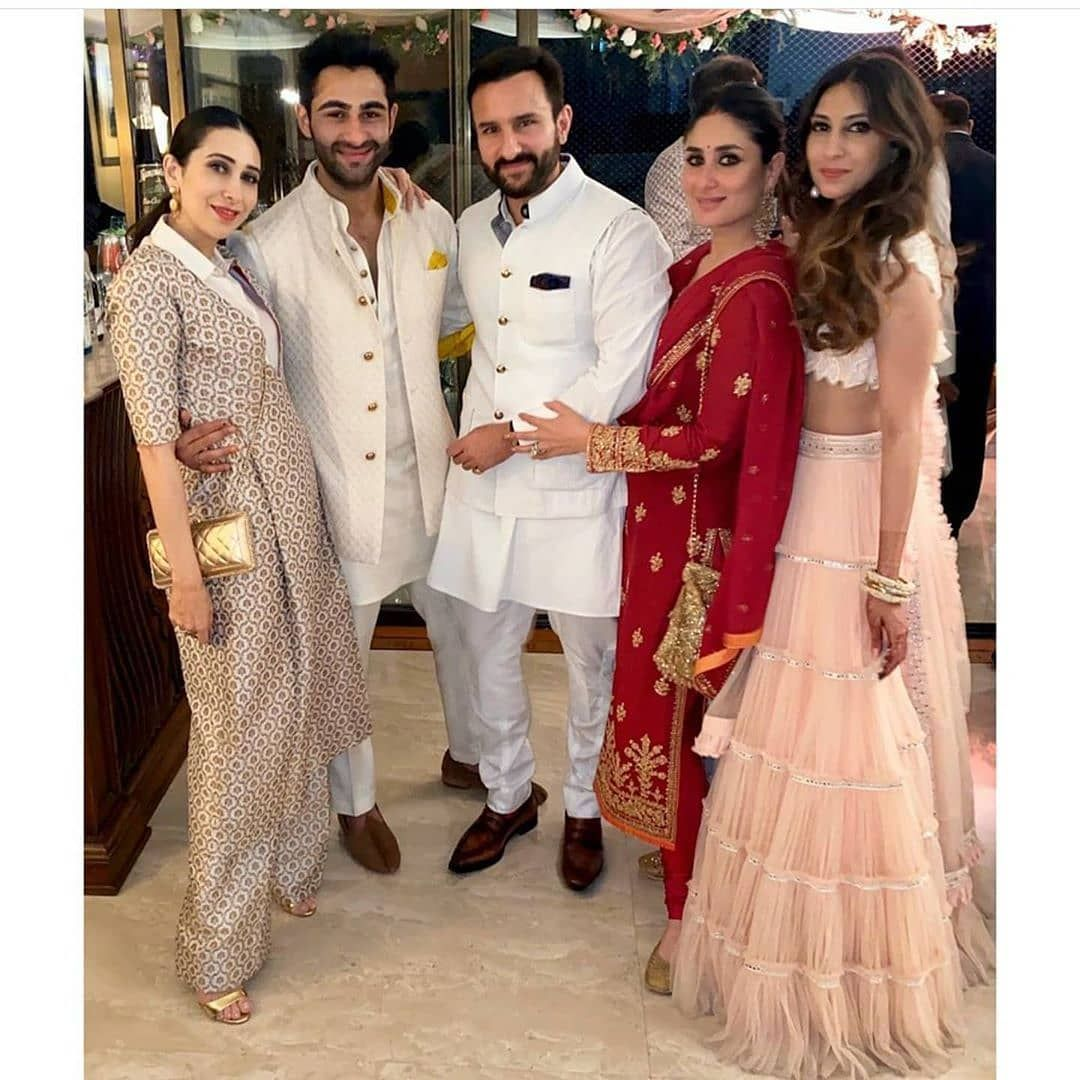 Inside Kareena Kapoor S Cousin Armaan Jain S Roka Ceremony Hungryboo Indian Designer Outfits Indian Party Wear Saree Designs