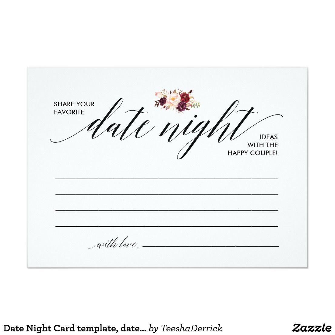 Date Night Card Template Date Night Ideas V3 Zazzle Com Card Template Date Night Cards