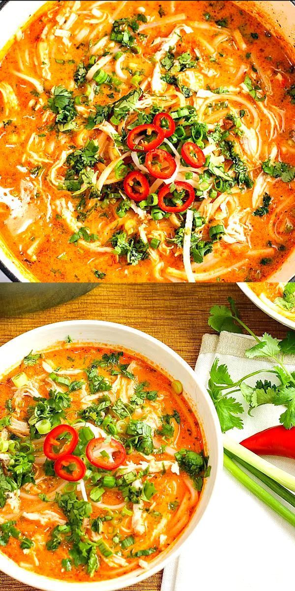 Skip the takeout! This delicious Thai Chicken Noodle Soup is easy to make at home with ingredients you can find in your local supermarket. If you love Thai food, you need to try this recipe! #Thai #chicken #soup