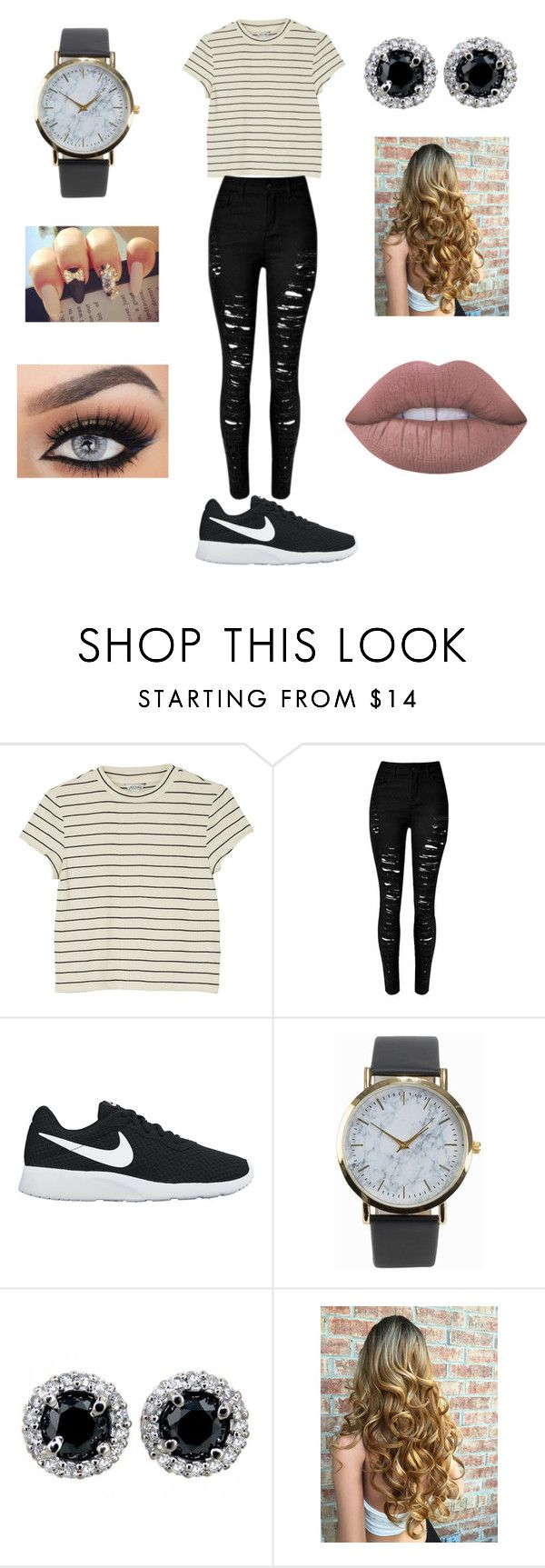 """""""Friday night"""" by loohoo1999 ❤ liked on Polyvore featuring Monki, NIKE, NLY Accessories and Lime Crime"""