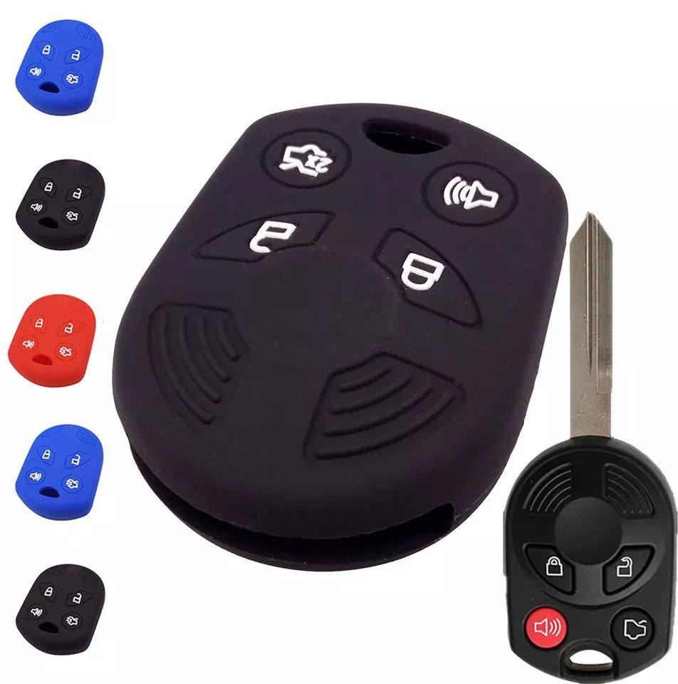 Silicone 4 Button Key Fob Cover Case Skin Jacket for Ford