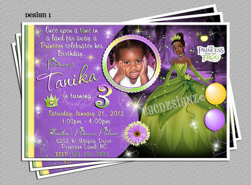 Princess and The Frog Princess Tiana Party Invitations DIY – Princess Tiana Party Invitations