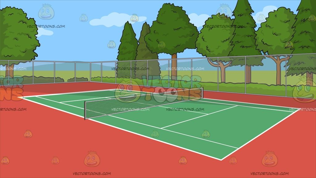 An Outdoor Tennis Court Background An Outdoor Tennis Court Surrounded By A Nice View Of Trees Bordered By A Screen Gate With A Green And Red Turf White Lines
