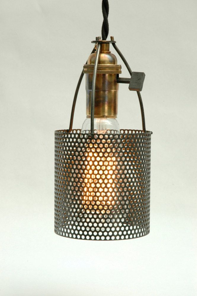 Small Industrial Perforated Metal Lamp Shade By Lumalights 25 00 Metal Light Fixture Metal Lamp Shade Perforated Metal