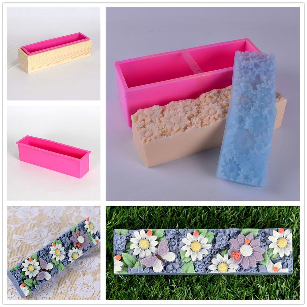 Nicole Flower Design Silicone Loaf Soap Bar Molds DIY Soap