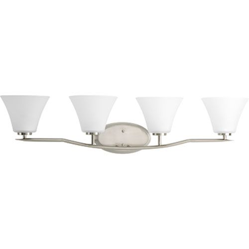 Photo of Progress Lighting P2007-09 Bravo Four-Light Bath Fixture w / Etched Glass Shade in Brushed Nickel – Brushed, Contemporary & Modern   Bellacor