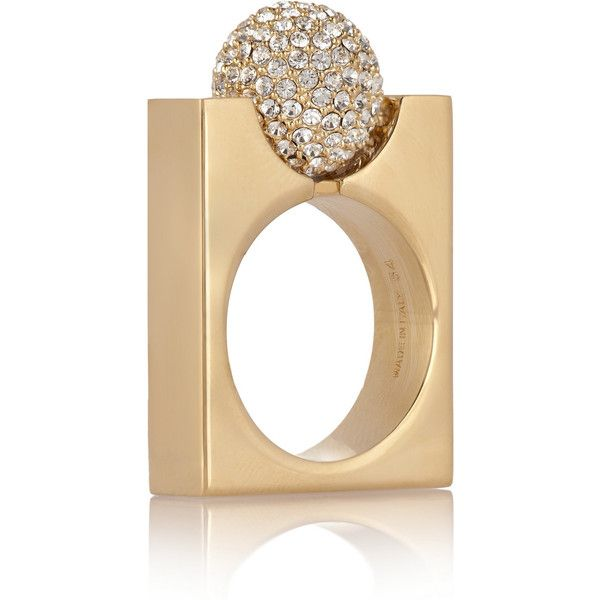 Chloé Darcey gold-tone Swarovski crystal ring (2,935 CNY) ❤ liked on Polyvore featuring jewelry, rings, gold, rectangle rings, white pearl ring, abstract rings, swarovski crystal rings and gold tone jewelry