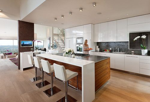 White Modern Kitchen With Waterfall Overlap On Snack Counter Contemporary Kitchen Design Contemporary Kitchen Modern Kitchen