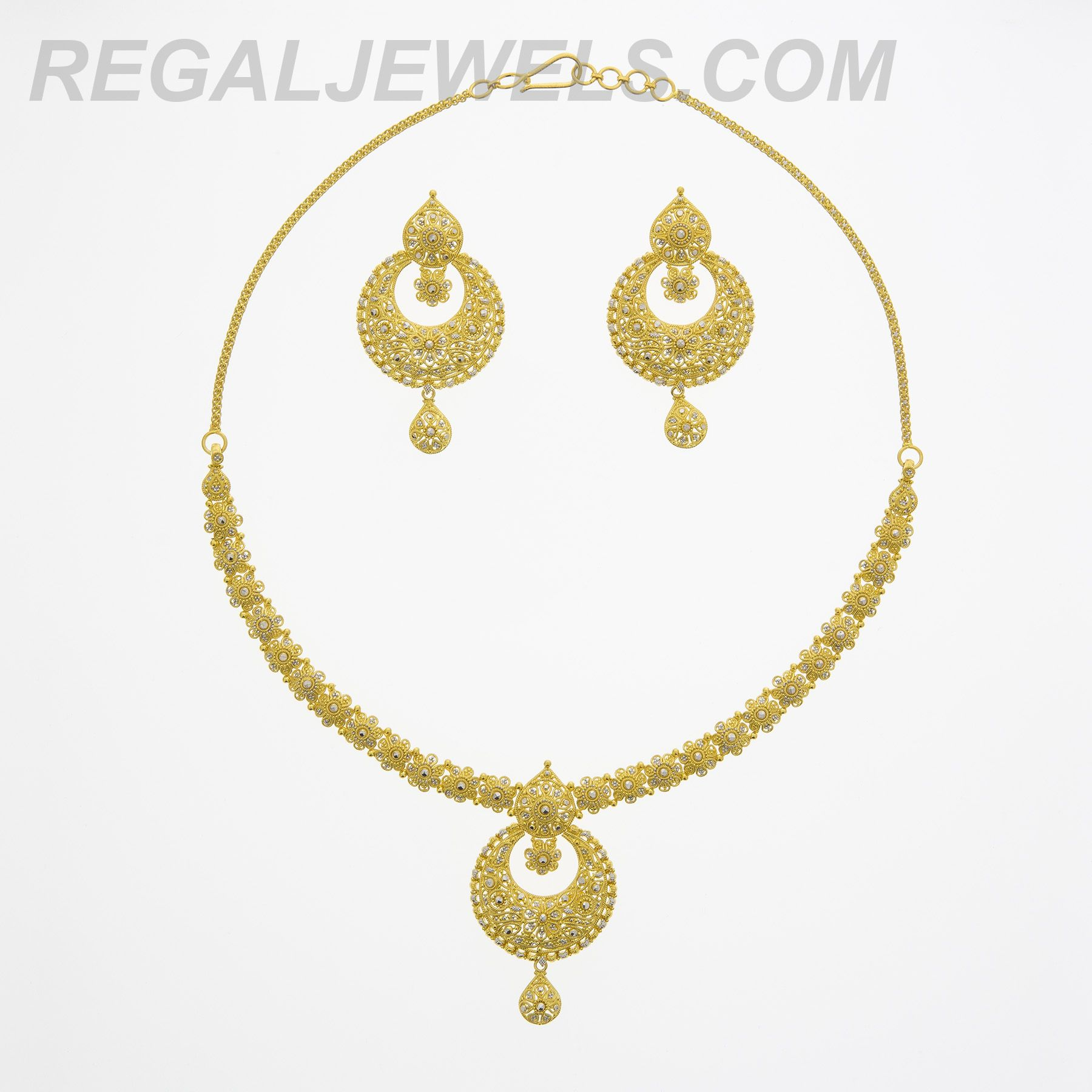 Regal Jewels Online - 22KT Gold Filigree with Rhodium Accents ...
