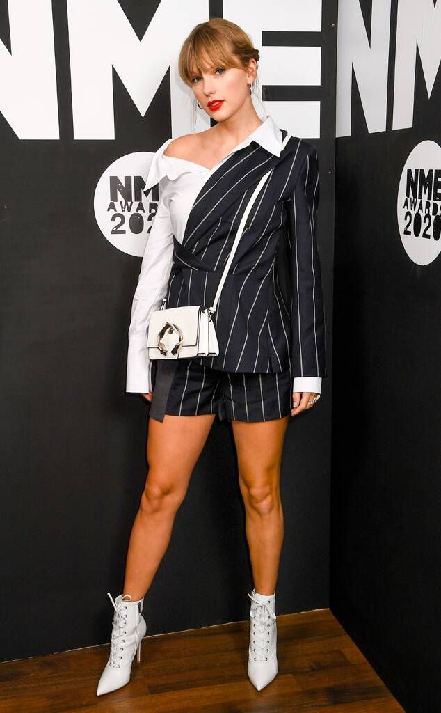 Taylor Swift aesthetic outfit NME awards striped pinsuit