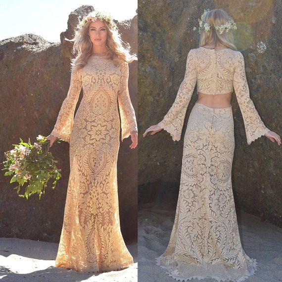 Wedding Dress Lace Cut Out Back : Vtg mocha lace back cut out hippie boho crochet wedding