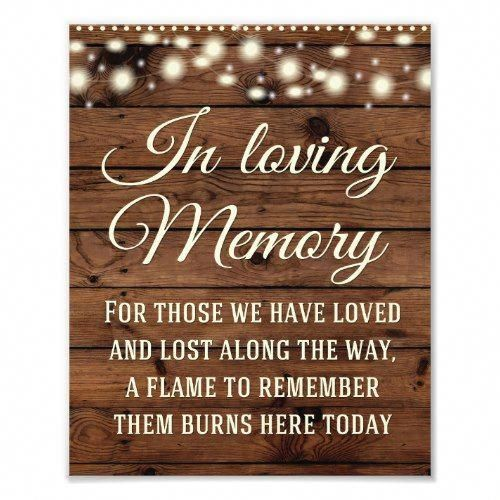 In Loving Memory Sign, Wedding Decor, Wedding Sign | Zazzle.com