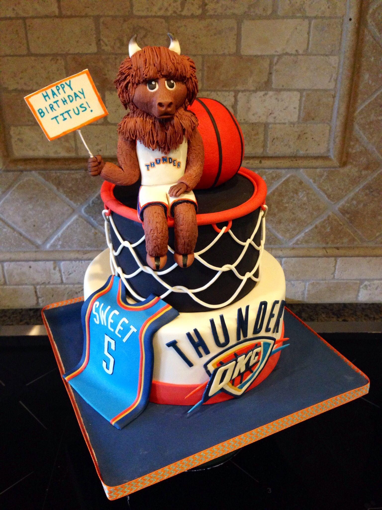 Okc Thunder Cake With Fondant Rumble Figure My Cakes