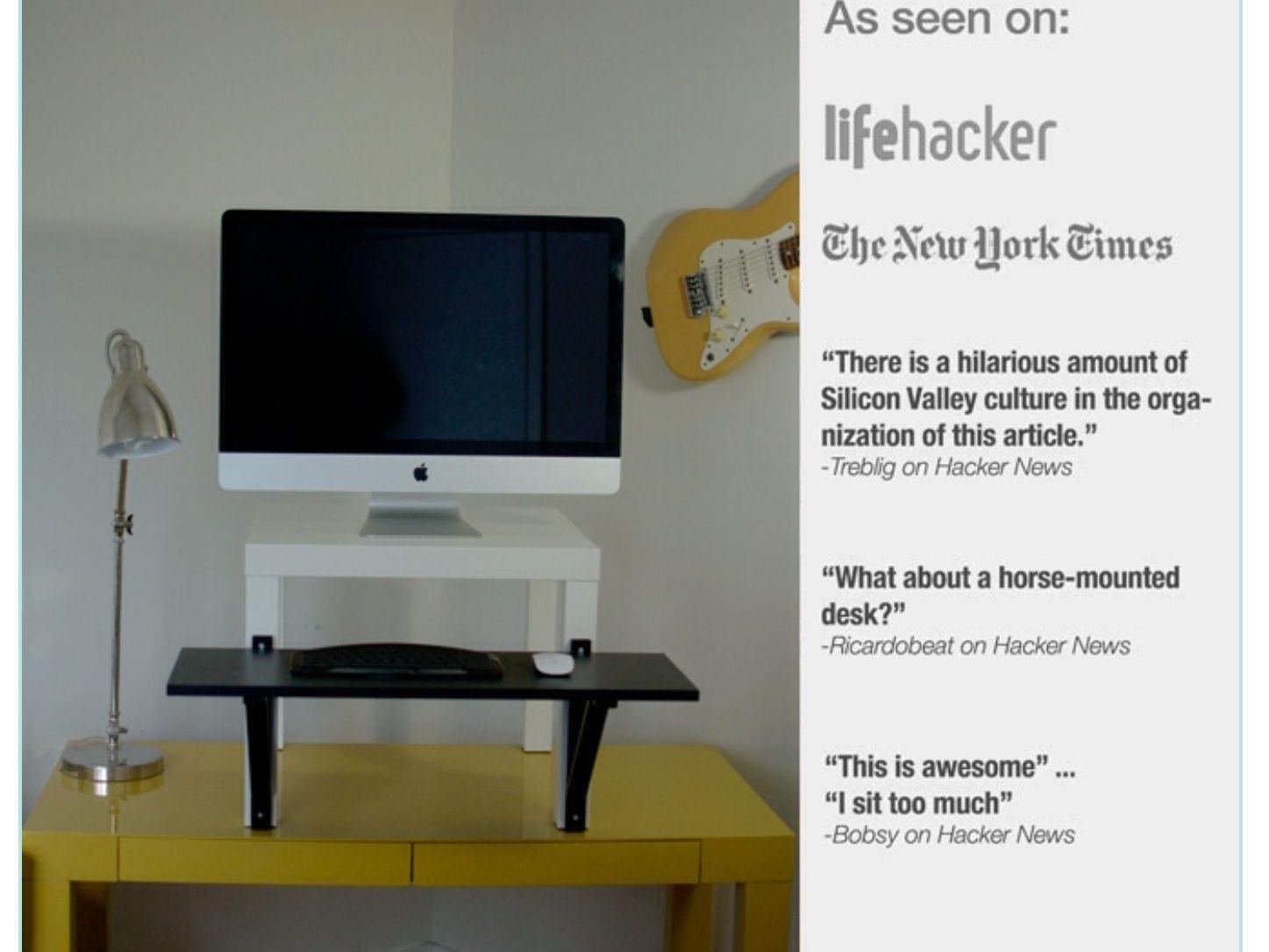 IKEA hack standing desk Lack side table - $7.99 Viktor Shelf - $5.99 Ekby  Valter bracket