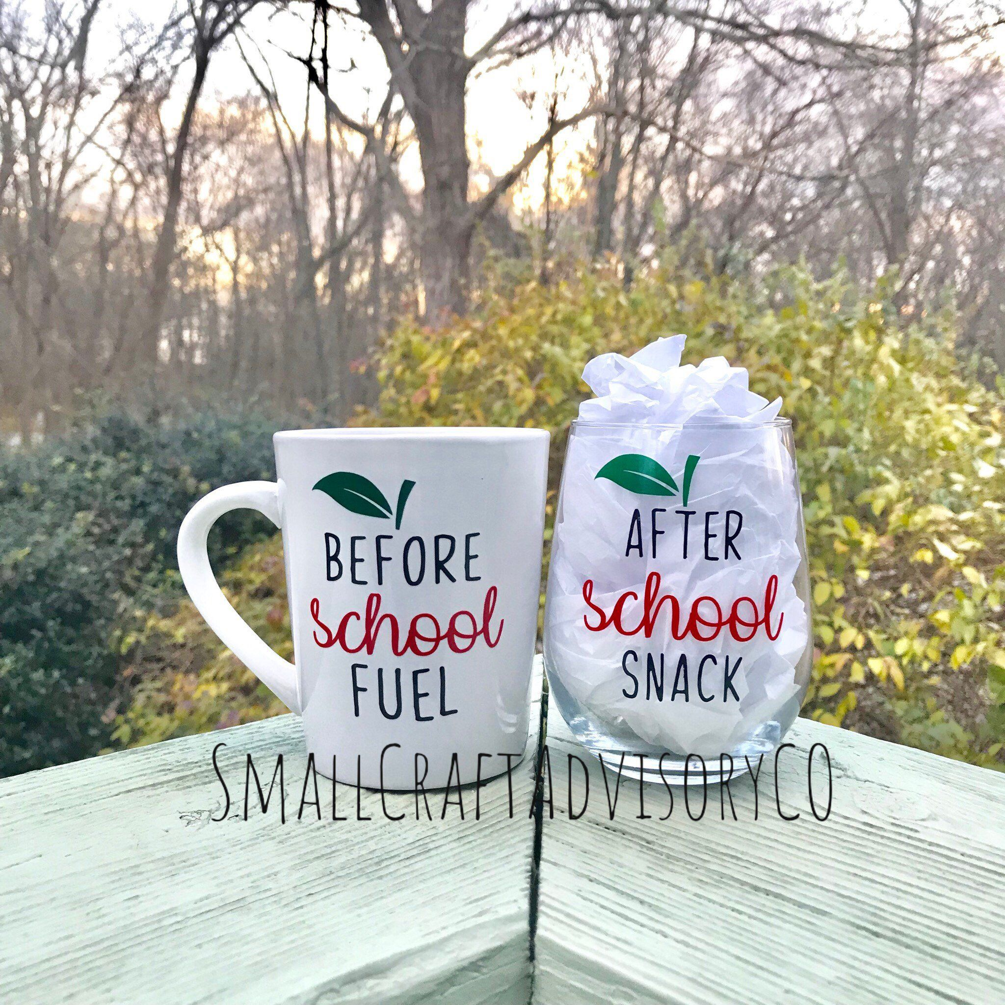 End of Year Teacher Gift / Before School Coffee Cup / After School Wine glass / Coffee Cup Wine Glass Set / Teacher Gifts #coffeecup
