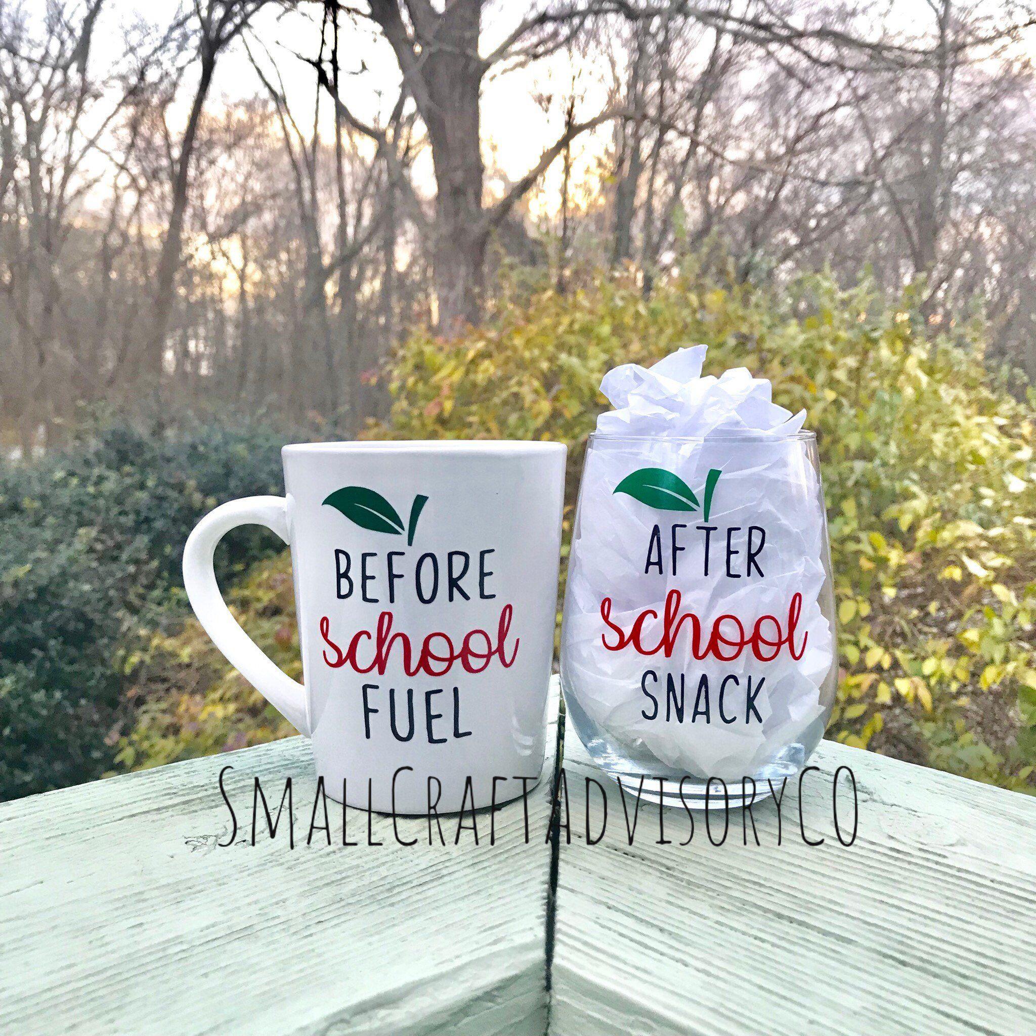 End of Year Teacher Gift / Before School Coffee Cup / After School Wine glass / Coffee Cup Wine Glass Set / Teacher Gifts /