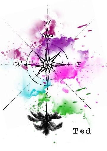 Kompass windrose watercolor tattoo tattoo kompass - Aquarell vorlagen ...