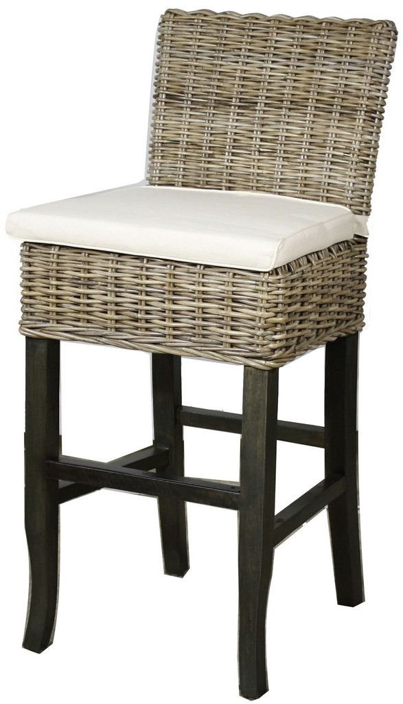 """New Pacific Direct 25"""" Bermuda Rattan Counter Stool with"""