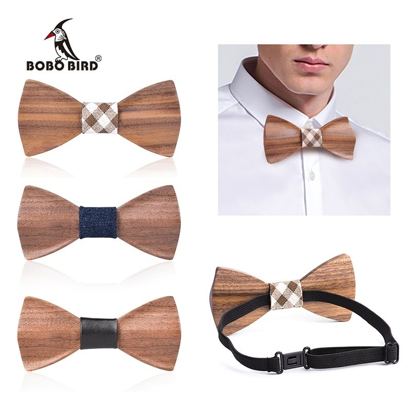 Men Handmade Wooden Pre Tied Bowtie Wood Bow Ties Gifts Wedding Formal Party