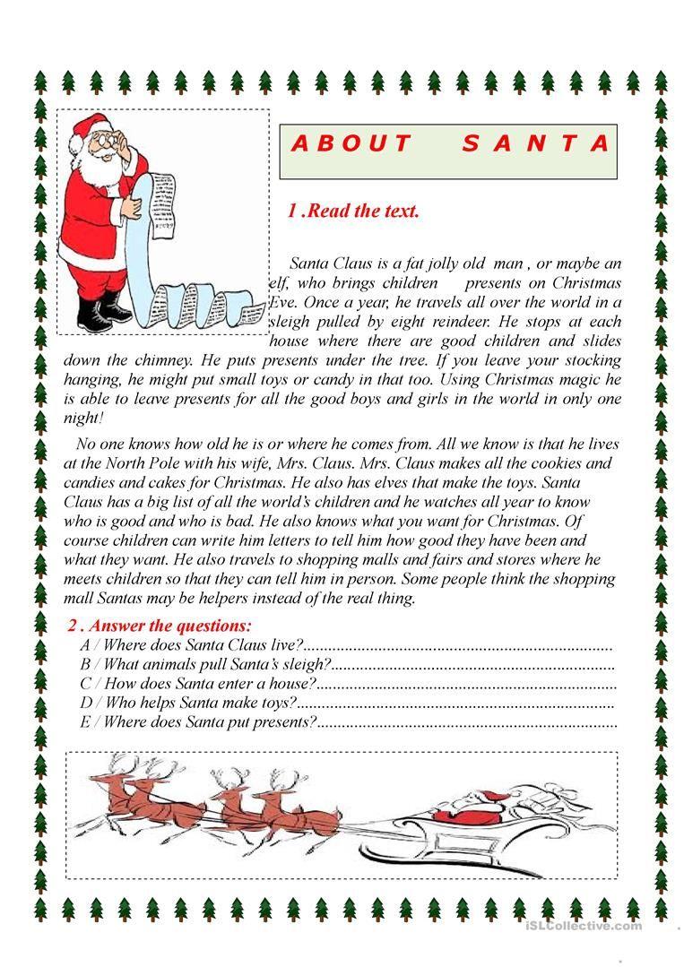 About Santa Christmas Worksheets Christmas Reading Comprehension Christmas Reading Free christmas reading worksheets for