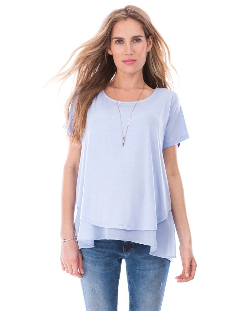 9219abbaba23a Soft stretch jersey Semi-sheer viscose under-layer Lift up nursing access  Work those chic summer layers this season with the Double Layer Maternity  ...